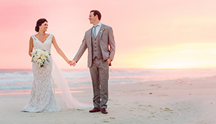 Married in Carillon Beach Florida, Allie and Becker were treated to a beautiful sunset along 30A